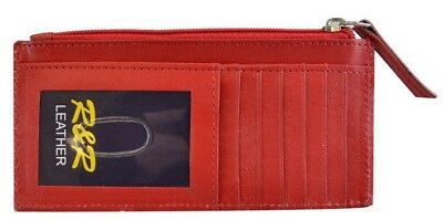 Women's Leather Slim Credit Card ID Wallet Zipper Coin Change (Id Coin Purse)