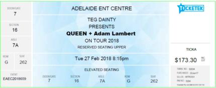 Queen with Adam Lambert Concert Tickets