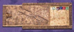 FOLK ART MINIATURE DICE, & PYROGRAPHY HAIRPIN BOX, dated 1906