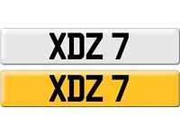 XDZ 7 Dateless Personalised Cherished Number Plate Audi BMW M3 Ford VW Golf Mercedes Vauxhall
