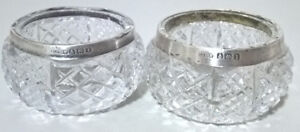 Vintage Crystal Cut Salt Cellar Dishes with Sterling Silver Rim