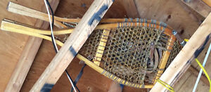 Pair of vintage wooden snowshoes ....wear them or decorate.....