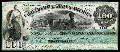 CRISP UNC. 1861 $100 CONFEDRATE STATE OF AMERICA BANKNOTE COPY
