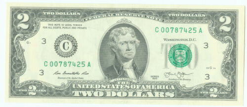 2013 C BANK OF PHILADELPHIA PENNSYLVANIA 2 DOLLAR BILL - UNCIRCULATED CRISP BILL
