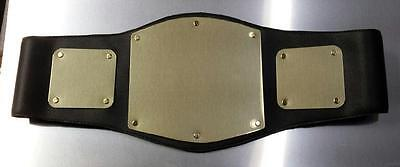 BLACK CHAMPIONSHIP BELT WITH 3 GOLD BLANK PLATES - CUSTOMIZE YOUR OWN BELT