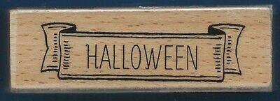 HALLOWEEN BANNER card words Hampton Art 2014 NEW wood mount Craft RUBBER STAMP](Halloween Card Words)