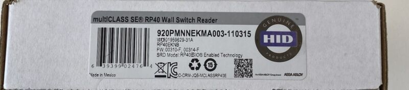 HID Multiclass SE RP40 920PMNNEKMA003 Wall Switch Reader NEW NEW NEW