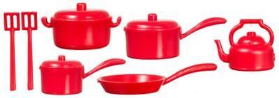 Accesorio de Cocina Miniatura Casa Muñecas Rojo Cacerolas Pan Juego 1:12 Ollas