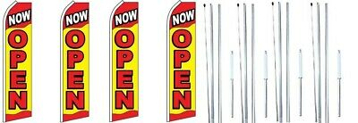Now Open Swooper Flag With Complete Hybrid Pole Set- 4 Pack