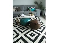 Black and white LAPPLJUNG rug ikea low pile