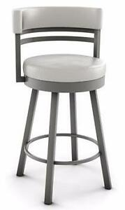Round Swivel Bar Counter Stool with Metal Base - Made in Canada
