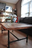 2 Loons 6 foot rustic Pine Dining Table with Steam Pipe Legs