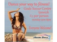 Belly dance fitness classes at Goals Soccar Centre in Ipswich