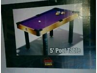 5 Foot Pool Table w/ balls, cues etc