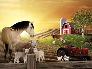 New PhotoOp Peel+Stick Sunset Horse+Country Farm Mural