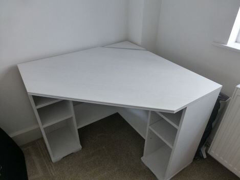 Borgsjo Ikea White Corner Desk For Home Office Or Students With Black