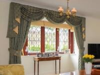 Beautifully thick, lined, full length curtains with matching ti-backs. Pair 2 of 2