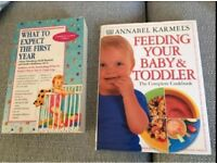 Books - what to expect the first year and Annabel karmel feed your toddler