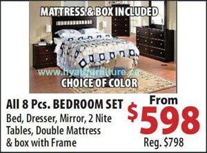 brand new All 8 Pcs Bedroom set w/ Double Matt + Box + Bed frame