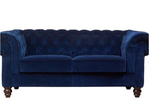 Ordinaire Perfect Condition Two Seater Blue Velvet Chesterfield Style Sofa From  Debenhams