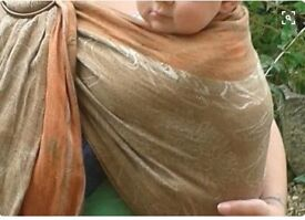 Beautiful linen-mix ring sling, with guide rail and bronze-coloured rings