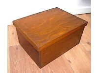 Small wooden box with hinged lid