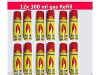 12 X 300ml GENUINE RONSON ULTRA LIGHTER GAS REFILL