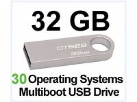32GB MULTIBOOT USB, 30 BOOTABLE LINUX SYSTEMS