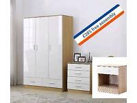 3 doors wardrobes full sets in oak and white or black and walnut price Inc fitting
