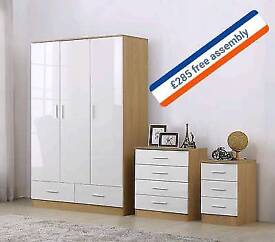 oak with white doors wardrobes full set with free assembly service and delivery