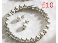 Ice Water Faux Pearl Bracelet and Earrings