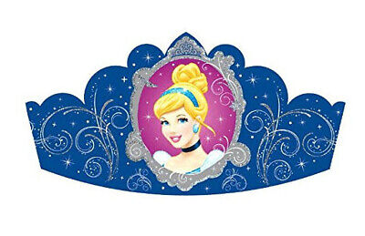 Disney PRINCESS CINDERELLA Birthday party TIARAS 8 hats w/glitter - Cinderella Birthday Supplies