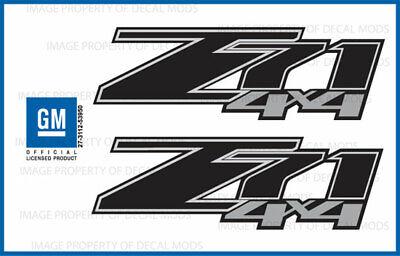 2007   2013 Chevy Silverado Z71 4x4 decals   FBLK GM HD black stickers set side
