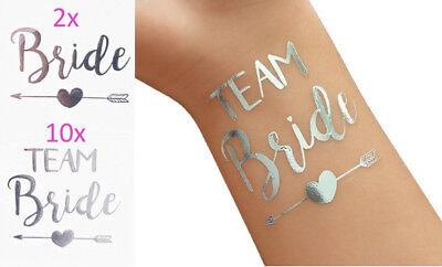 Tattoos Team Bride in silber für JGA und Hochzeit/ Team Braut (Hochzeit Temporäre Tattoos)