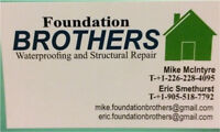 Foundation waterproofing and structural repair call now