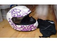 HJC Purple Flower Detail Helmet in Soft Case M