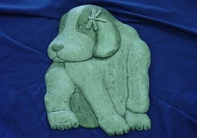 Dog W Dragonfly Concrete Stepping Stone Mold 1032