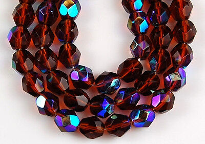 Czech Dark Topaz AB Round Faceted Fire Polished Loose Glass Beads 7mm 50pcs