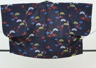 FAB Vintage Japanese Ladies' Navy 'Bright Florals' Wool Kimono Haori Jacket S/M