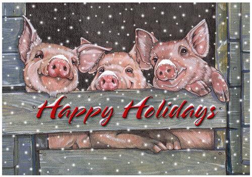 Pig Christmas Cards Set of 10 cards & 10 envelopes