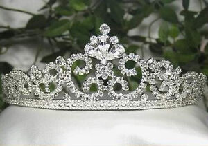 LUXURY-CLEAR-RHINESTONE-TIARA-CROWN-BRIDAL-PARTY-WEDDING-PROM-H671S-SILVER