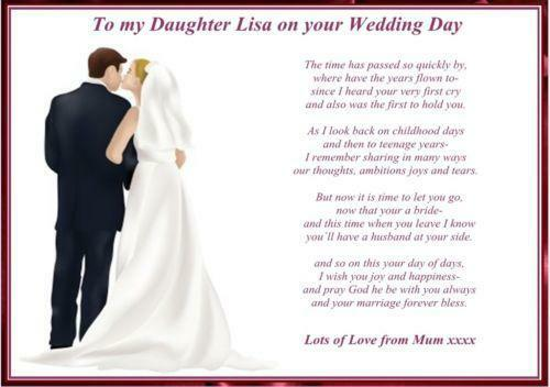 Daughter Wedding Poem Ebay Personalised Day Gift From Mother