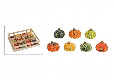 Kürbis-Deko Ton Sort. ca.5x6xcm 12-Set Halloween Korb/Tisch-Deko in Terrakotta