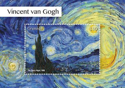 Grenada 2015 - Vincent Van Gogh Stamps - The Starry Night - Souvenir Sheet MNH