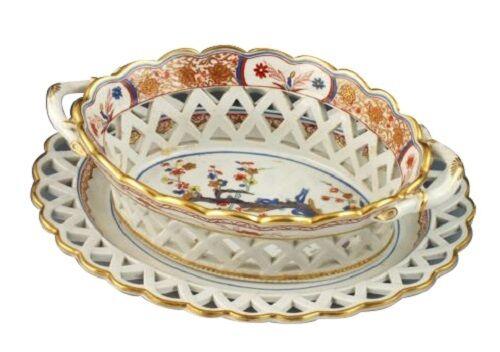 Spode Porcelain Kakiemon Pattern 282 Openwork Chestnut Basket & Underplate Rare