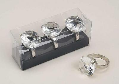 3er Set Serviettenring Metall Glas Kristall 4x 6cm Box