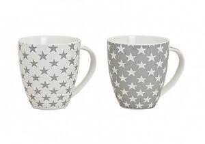 2x Jumbo XXL Becher Tasse 600ml Kaffeebecher Teebecher Sterne grauweiß Porzellan