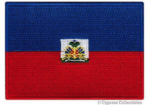 HAITI FLAG embroidered iron-on PATCH HAITIAN CARIBBEAN EMBLEM