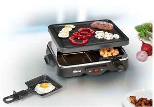Raclette & Grill mit Backplatte 2-4 Personen Raclette-Set Tischgrill 500Watt