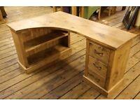 Rustic pine corner desk w/ 3 drawers and book shelves''